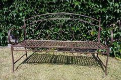 Gartenbank Schmiedeeisen mit ausklappbarem Tisch