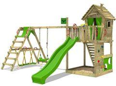 Spielturm HappyHome Hot XXL Stelzenhaus Baumhaus Klettergerüst mit Schaukel, Surfanbau und Rutsche