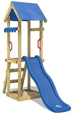 Spielturm Rutsche TinySpot Kletterturm Klettergerüst Sandkasten und Kletterleiter