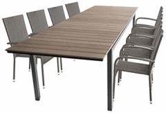 9tlg Gartengarnitur Gartentisch, Ausziehbar, Aluminiumrahmen, Polywood-Tischplatte Smoked-Grey, 280/220x95cm + 8X Rattanstuhl, Textilenbespannung Grau-Meliert