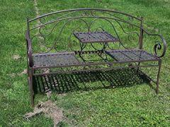 VARILANDO® Metall-Gartenbank Susan im verspielten antik-Look mit klappbarem Tisch Sitzbank Metallbank