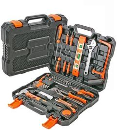 Werkzeugkoffer Haushalt 50 tlg Werkzeugkasten bestückt mit Qualitätswerkzeug, ideal Hobby, und Werkstatt