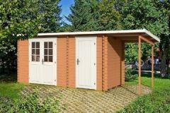Gartenhaus GLORIA + 150 Schleppdach Blockhaus 445 x 200 Holzhaus 28mm