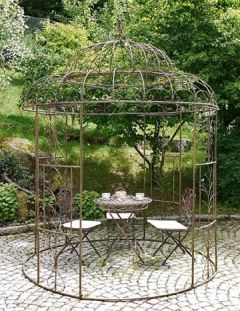 XXL rund 212 cm rostoptik Gartenpavillon Gartenlaube