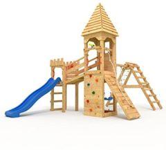 """Spielturm Ritterburg """"XL"""" 2,4m Rutsche, Türme, Schaukel + Knotennetz (geschlossenes Spitzdach, blaue Rutsche"""