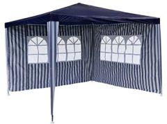 PE-Pavillon Partyzelt mit 2 Seitenteilen für Garten Terrasse Markt Camping Festival Unterstand und Plane, wasserdicht x blau