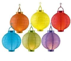 LED Papierlaterne Garten Ballon Papierlampion (Türkis