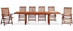 rechteckig Echtholz Modell Citrus, 72x 180x 70cm, Gartentisch Keruing, Handarbeit, Hartholz für Außenbereich, Keruing-Holz, ausziehbar bis 180cm