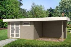 Gartenhaus ORIENTAL III - SD300 mit Schleppdach 380x260+300cm 28mm Blockhaus