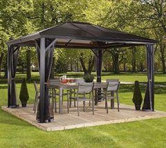 Aluminium Pavillon Überdachung Gazebo Verona 10x14 Doppelstegplatten 298x423 cm (BxT) Gartenlaube Doppelstegdach von