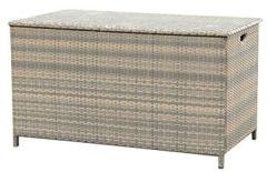 XXL Kissenbox Manila grau bicolor, Auflagenbox inklusive Schutzbespannung, Truhe witterungsbeständigem Polyrattan, Deckel einfach zu betätigen, Maße: ca.134 79 75 cm