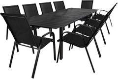 11tlg. Gartengarnitur Aluminium Gartentisch ausziehbar mit Polywood - Tischplatte 220/280x95cm Stapelstühle Textilenbespannung Gartenstuhl Sitzgruppe Sitzgarnitur Gartenmöbel Schwarz