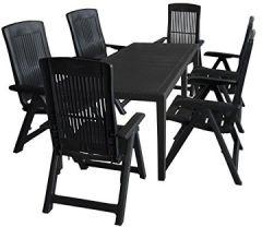 7tlg. Sitzgruppe Gartentisch, erweiterbar, 150/220x90cm + 6X Hochlehner, Kunststoff, Anthrazit/Klappstuhl Ausziehtisch Gartenmöbel Kunststoffmöbel Campingmöbel Set
