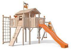 Terrizio XL-Spielturm Baumhaus mit Schaukelanbau, Rutsche, Doppelschaukel, Kletterrampe, Kletternetz und Spielhaus auf 1,50 Meter Podesthöhe