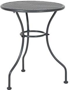 Vienna eisengrau, Dreibeintisch kunststoffummanteltem Stahl, witterungsbeständiger Balkontisch, runder Gartentisch für 2-4 Personen, Maße: 74 cm
