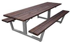Picknick-Tisch Stahl/Holz 2,45m, Kirsche + Silber