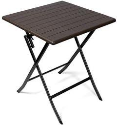 Beistelltisch braun eckiger Gartentisch Holzoptik Kunststofftisch für Garten, Terrasse und Balkon geeignet Bistrotisch mit Stahlgestell