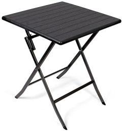 Beistelltisch Gartentisch Rattanoptik Kunststofftisch für Garten, Terrasse und Balkon geeignet Bistrotisch mit Stahlgestell