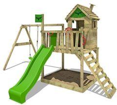 Spielturm RockyRanch Roll XXL - Klettergerüst mit Stelzenhaus, Schaukel, Sandkasten, Kletterleiter und apfelgrüner Wellenrutsche