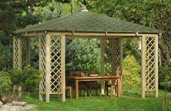 G&C Rimini großräumige, viereckige Gartenlaube mit Dachschindeln Grün oder Schwarz, Maße: 3,1m