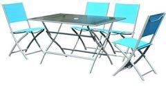 Sitzgruppe Campingtisch Picknicktisch Garten 5 TLG Blau