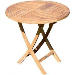 Echt Teak Klapptisch Holztisch Rund 80cm JAV-Coamo von
