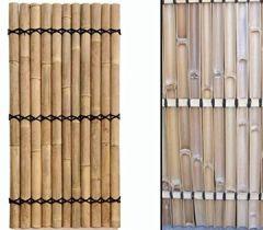 """Zaun""""Apas"""" gelblich, starre Verschnurrrung, Druch. 6 bis 8cm, 180 x 90cm von bambus-discount Bambuswand Sichtschutzwand Bambuselemente"""