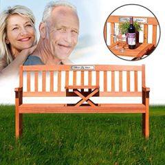 Gartenbank Tisch aus Eukalyptus Holz –Dreisitzer individuelle Geschenkidee zur Silberhochzeit Personalisiert Namen und Datum 25 Jahre Plakette - Parent