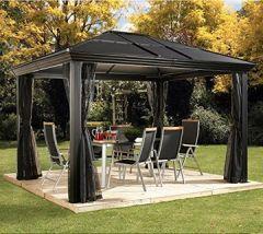 Aluminium Überdachung Gazebo Cambridge 10x12 360x297 cm (BxH) Sommer-Pavillon und Gartenlaube mit Hard-Top von