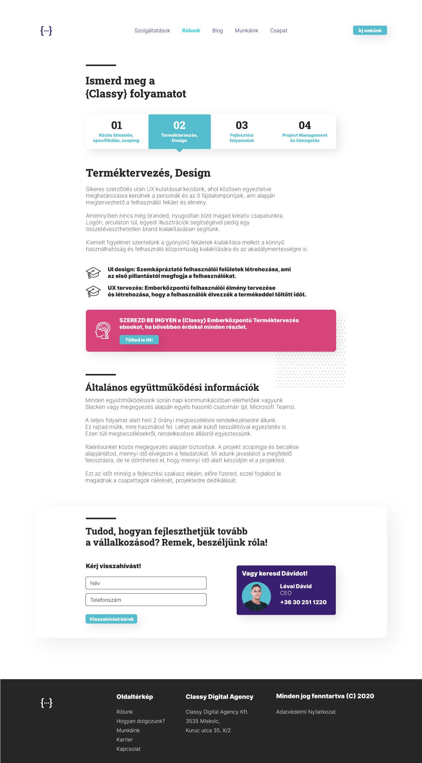 Classy Agency UI dizájn