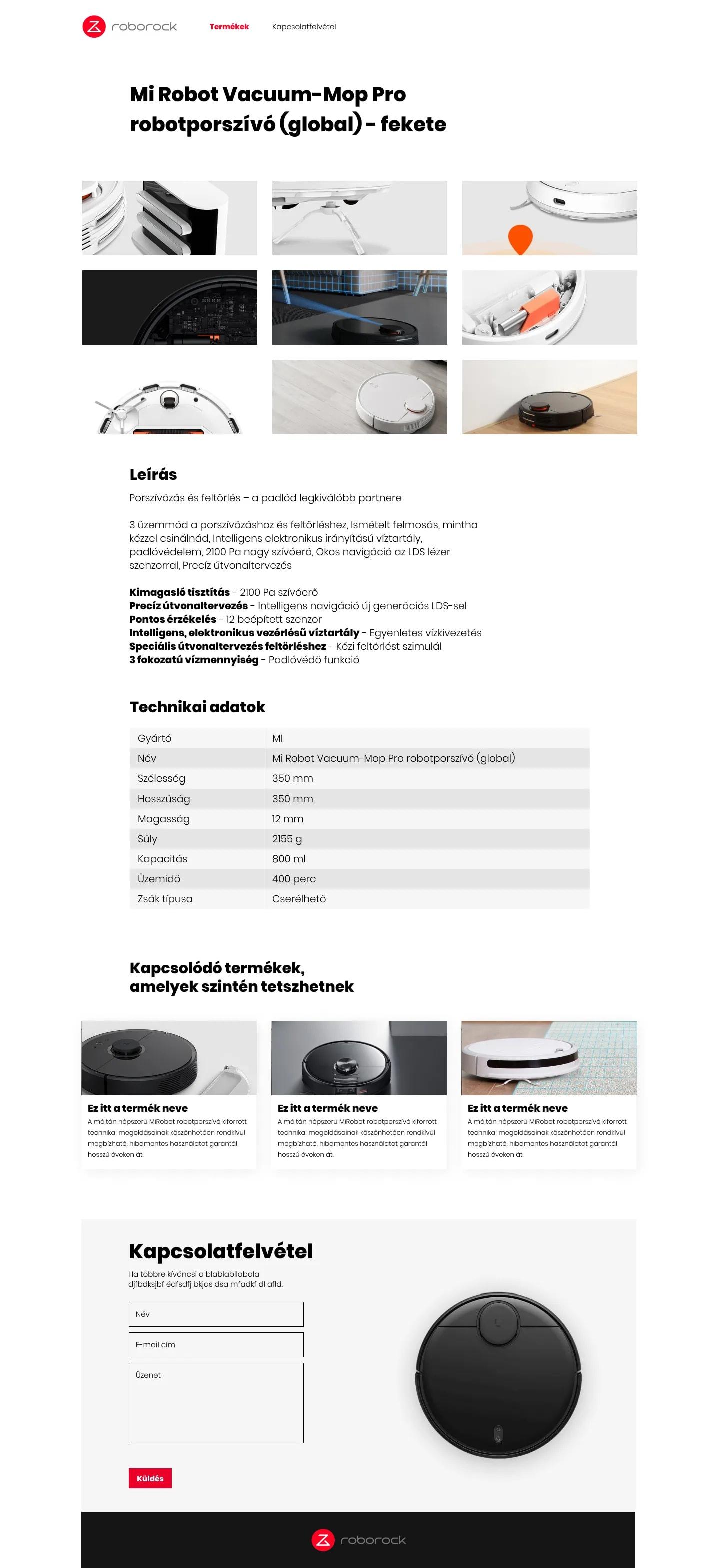 Roborock UI dizájn