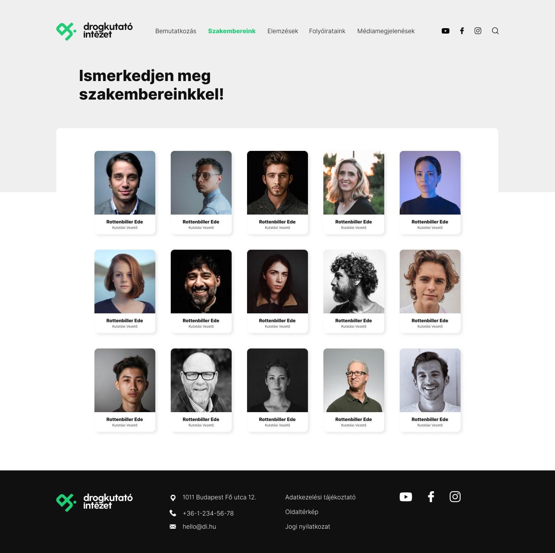 Drogkutató Intézet UI dizájn