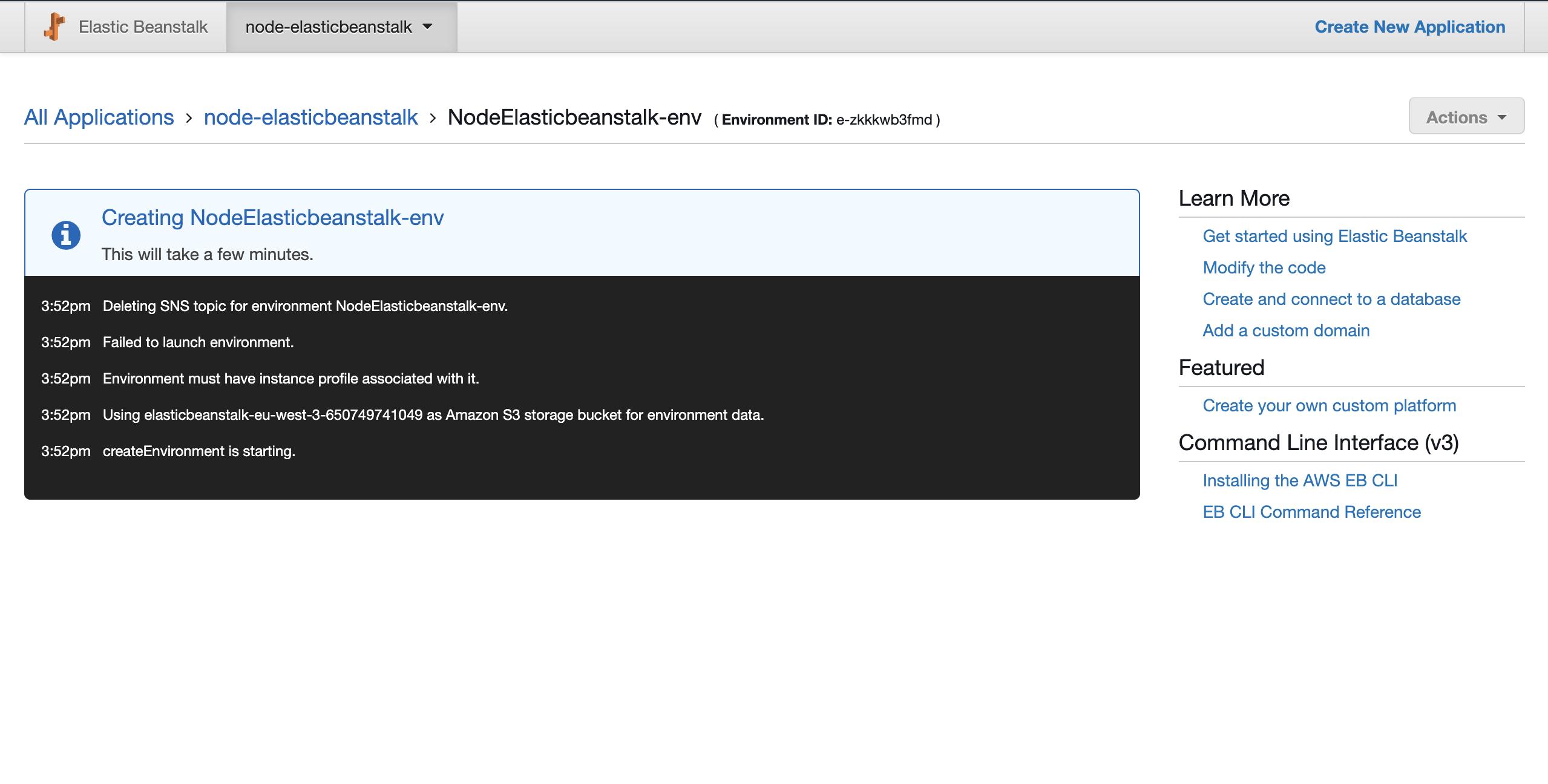 Elasticbeanstalk App creating