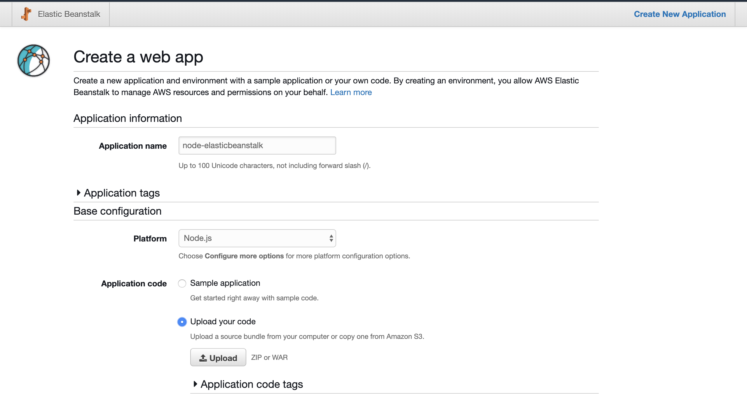 Elasticbeanstalk - Create a web app
