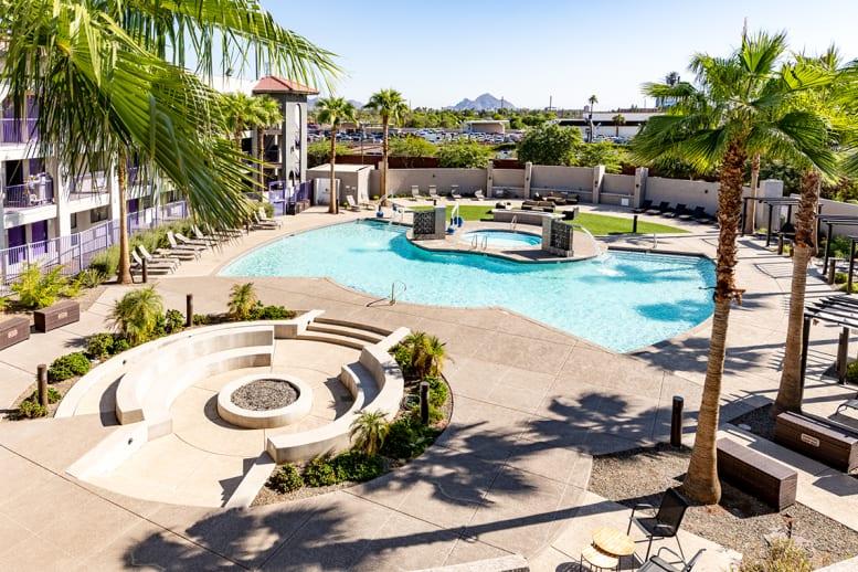 GCU Hotel pool aerial