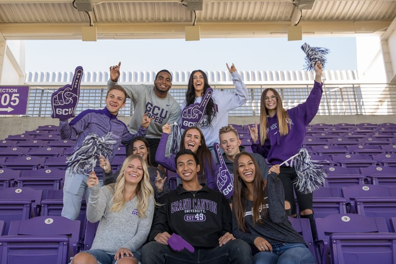 Grand Canyon University students cheer in Lopes gear