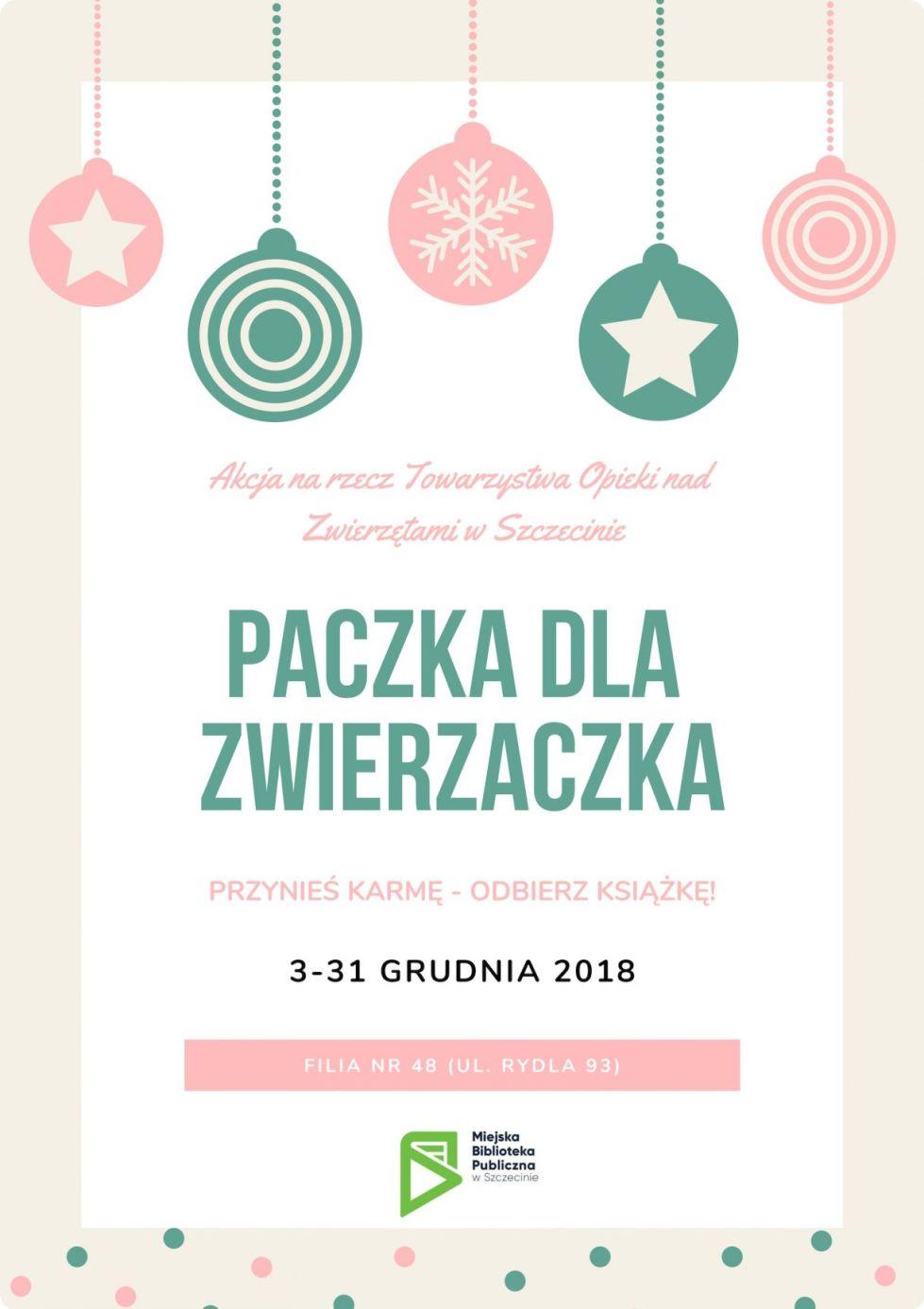 Paczka dla zwierzaczka w Miejskiej Bibliotece Publicznej w Szczecinie. Wydarzenia dla rodzin i dzieci.