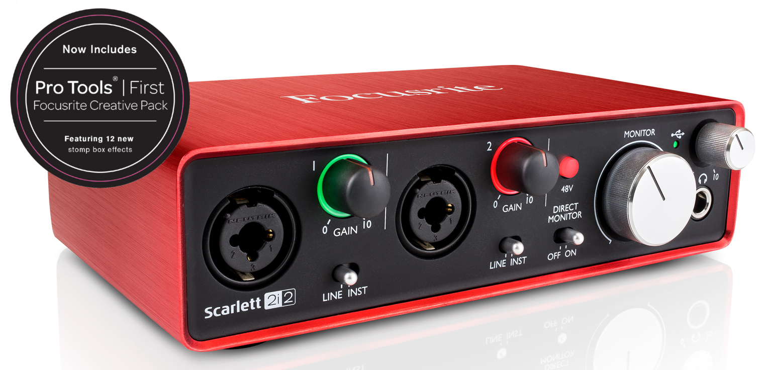 focusrite scarlett 2i2 2 in 2 out usb 2 0 2nd generation audio recording interface w 2 xlr cables. Black Bedroom Furniture Sets. Home Design Ideas
