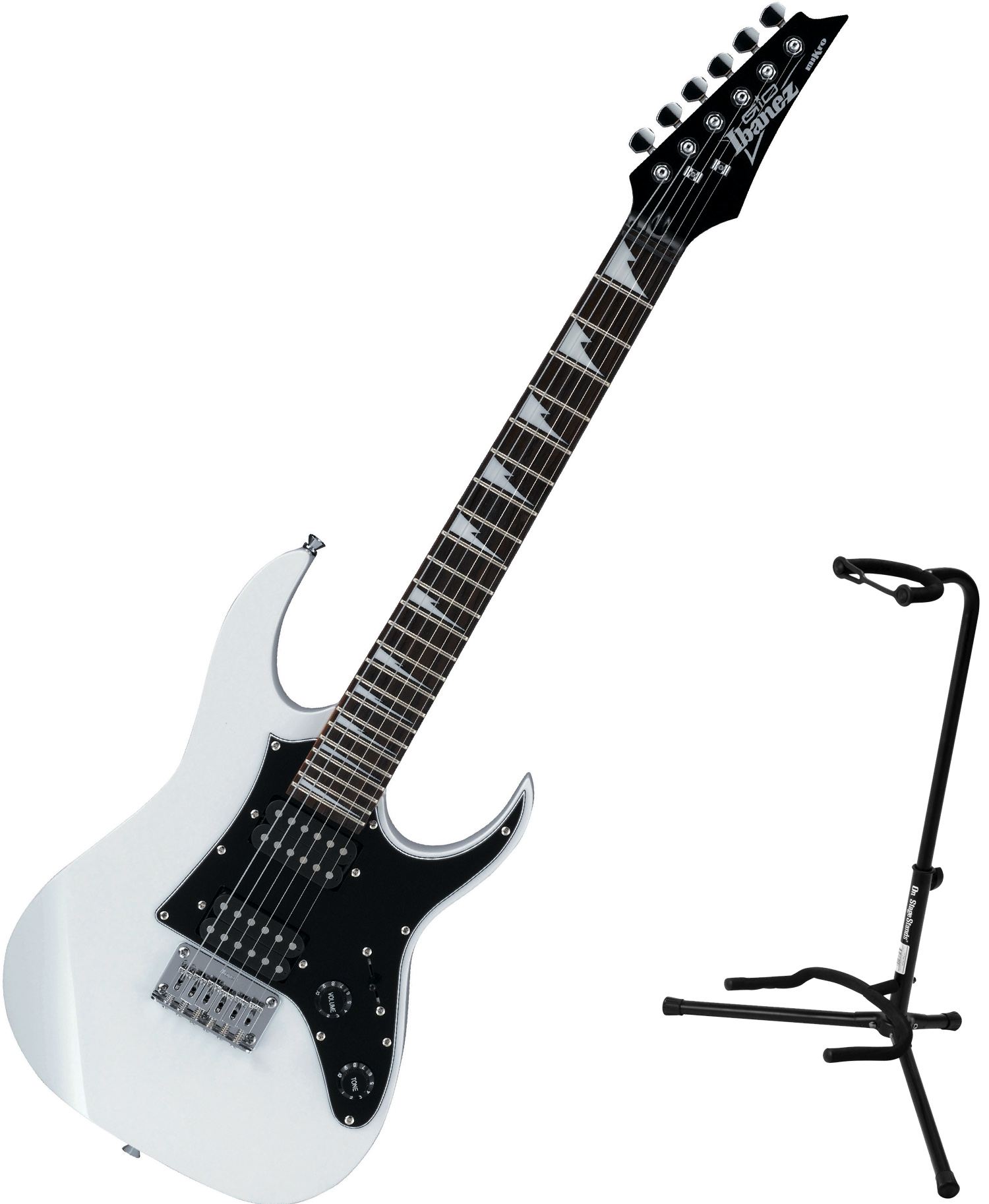 ibanez grgm21 gio mikro white electric guitar bundle w stand 606559341702 ebay. Black Bedroom Furniture Sets. Home Design Ideas