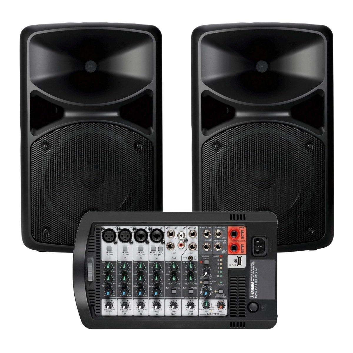 yamaha stagepas 400i portable pa system w speaker stands microphone and 2 xlr cables. Black Bedroom Furniture Sets. Home Design Ideas