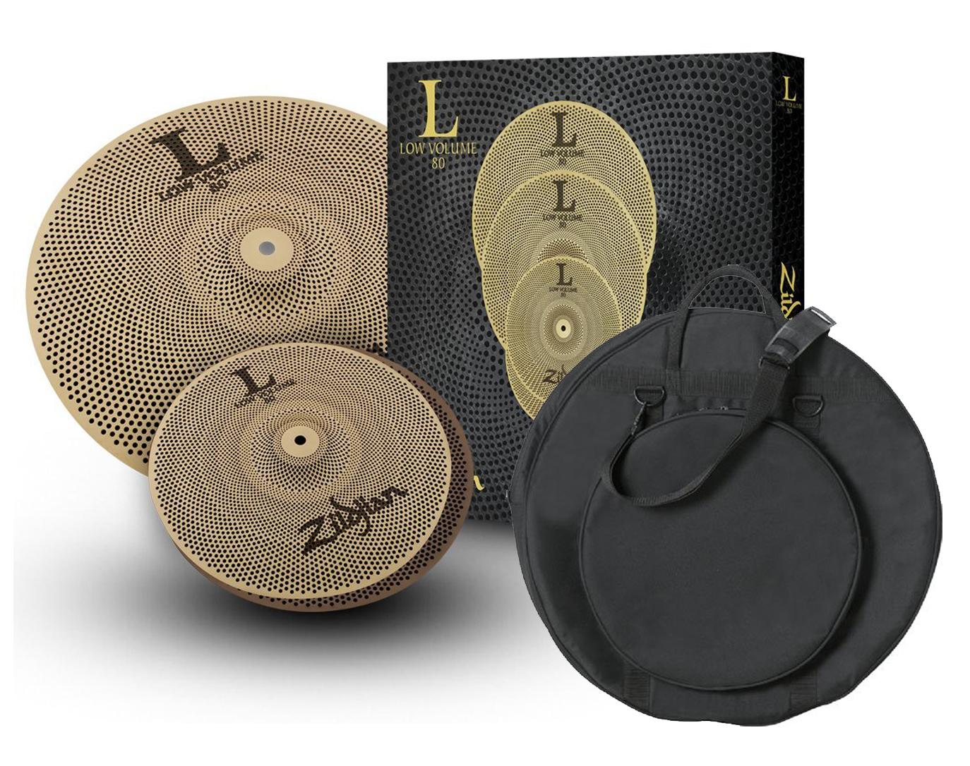 zildjian lv38 low volume l80 13 18 lv 38 drum cymbal box set with bag. Black Bedroom Furniture Sets. Home Design Ideas
