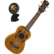 Soprano Etched Tribal Turtle Ukulele Bundle