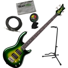 Edge 3 Green Burst Electric Bass Guitar Bundle
