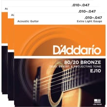 EJ10 3-Pack Bronze Extra Light Acoustic Strings