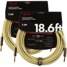 Two Fender DELUXE SERIES INSTRUMENT CABLES 18.6' S