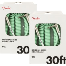 Two Fender Original Series Coil Cables 30' Surf Gr