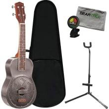 ResoUke Metal Body Resonator Ukulele Bundle