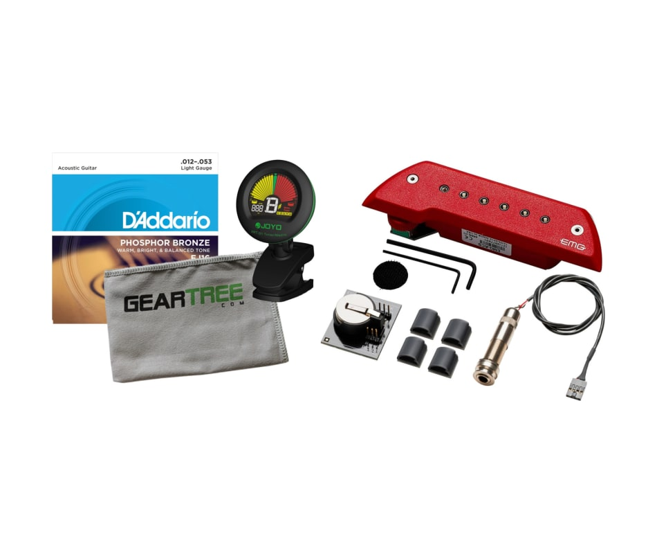 ACS Acoustic Guitar Red Soundhole Pickup Bundle