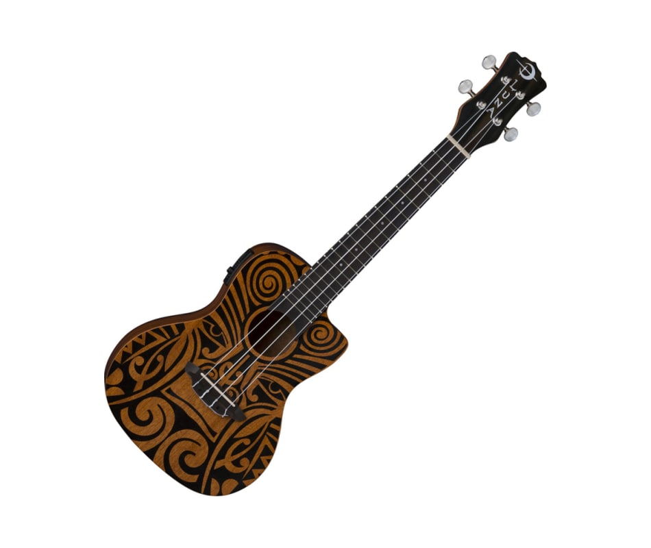 Tribal Concert CAW Mah Ukulele with Preamp