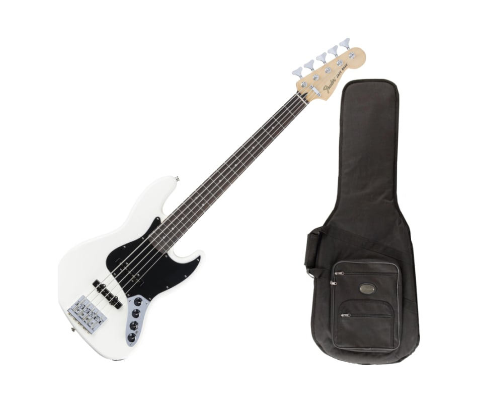 Olympic White Deluxe Active Bass V Guitar